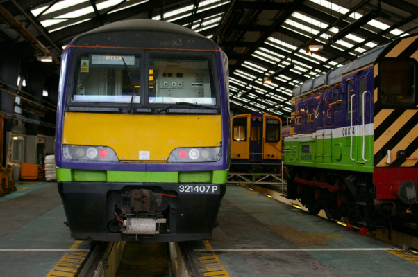 Class 321 forms a special at the depot