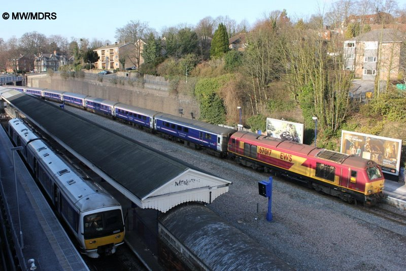 Diverted Caledonian Sleeper passes High Wycombe (photo by Mike Walker)