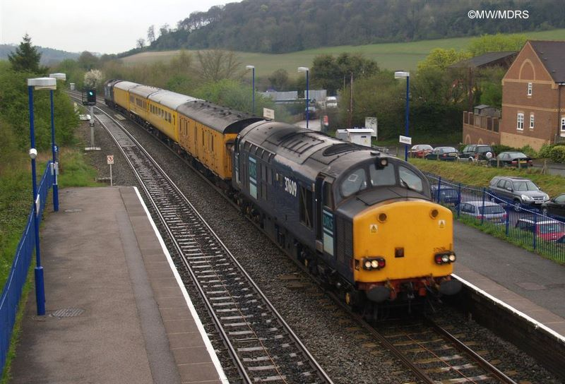 Serco test train with class 37s passing Saunderton